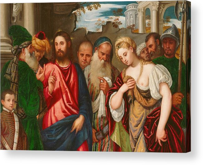 Son Of God Acrylic Print featuring the painting Christ And The Woman Taken In Adultery by Veronese