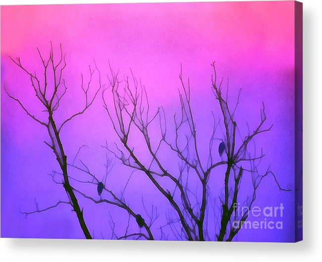 Autumn Acrylic Print featuring the painting Dawn Light In Resting Birds by Odon Czintos