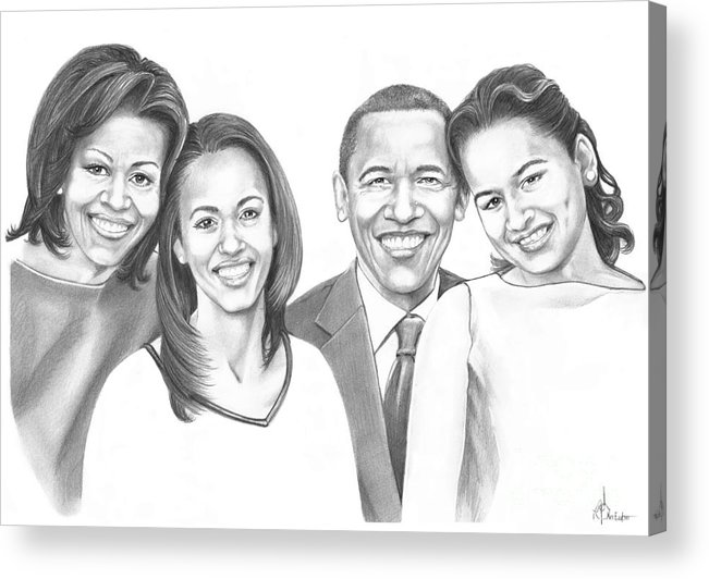 Barrack Acrylic Print featuring the drawing First-family 2013 by Murphy Elliott