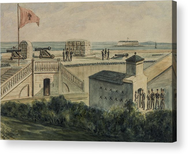 Harbor Acrylic Print featuring the painting Fort Moultrie Circa 1861 by Aged Pixel