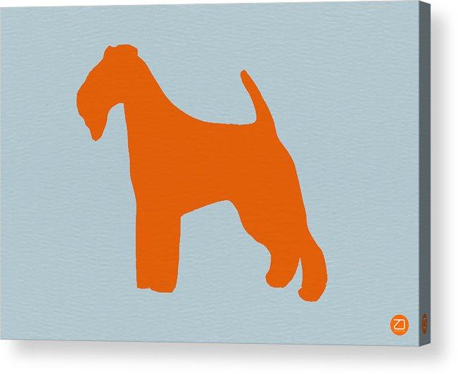 Fox Terrier Acrylic Print featuring the digital art Fox Terrier Orange by Naxart Studio