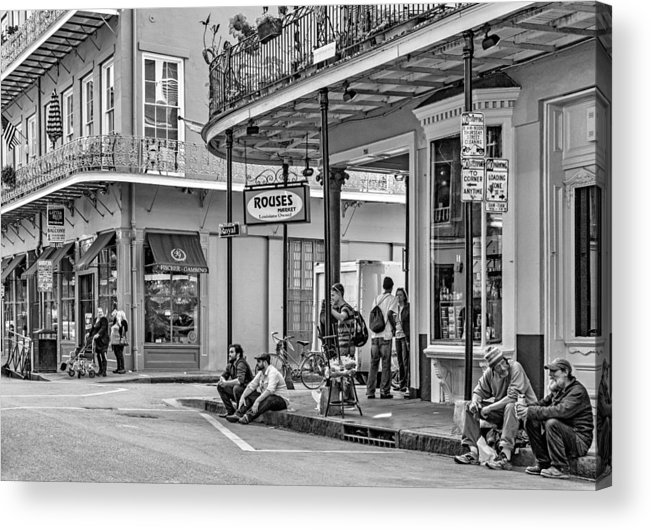 French Quarter Acrylic Print featuring the photograph French Quarter - Hangin' Out Bw by Steve Harrington