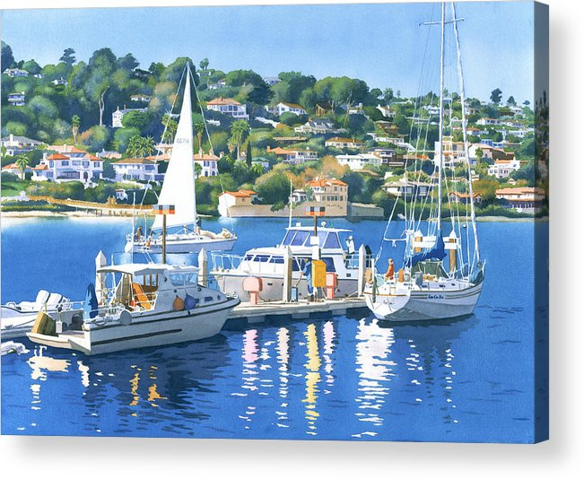 Point Loma Acrylic Print featuring the painting Fuel Dock Shelter Island San Diego by Mary Helmreich