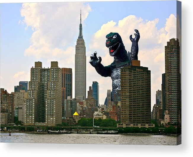 Godzilla Acrylic Print featuring the photograph Godzilla And The Empire State Building by William Patrick