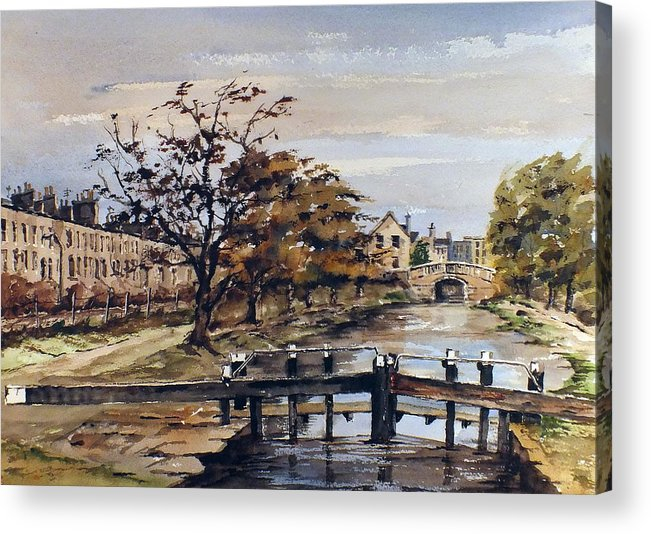 Val Byrne Acrylic Print featuring the mixed media Huband Bridge Dublin by Val Byrne