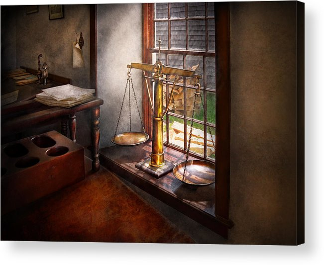 Hdr Acrylic Print featuring the photograph Lawyer - Scales Of Justice by Mike Savad