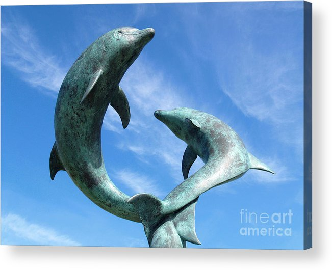 Sculpture Acrylic Print featuring the photograph Leaping Dolphins In The Isles Of Scilly by Alex Cassels