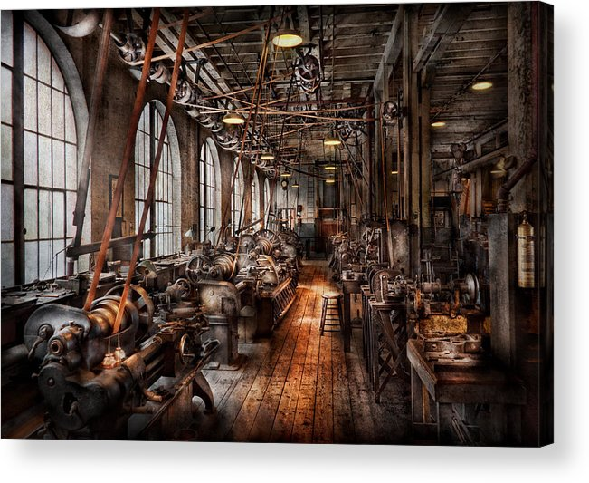 Hdr Acrylic Print featuring the photograph Machinist - A Fully Functioning Machine Shop by Mike Savad