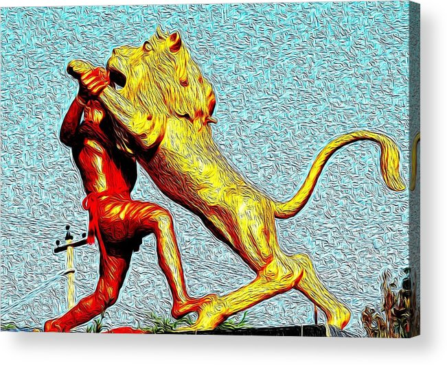 Man Acrylic Print featuring the photograph Man Fighting With Lion Bravery by Deepti Chahar