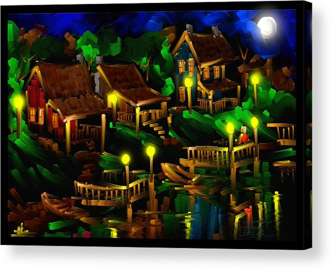 Moonshine Acrylic Print featuring the painting Moonshine Lake - Scratch Art Series - # 26 by Steven Lebron Langston