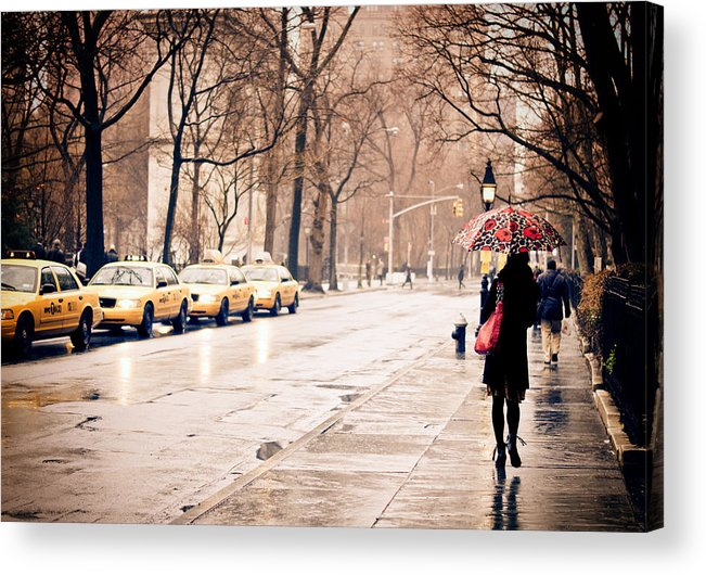 New York City Acrylic Print featuring the photograph New York Rain - Greenwich Village by Vivienne Gucwa