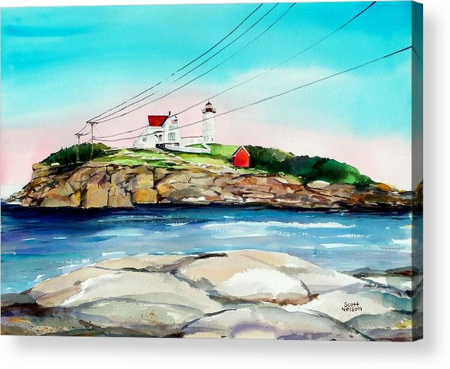 Nubble Lighthouse Acrylic Print featuring the painting Nubble Lighthouse Maine by Scott Nelson