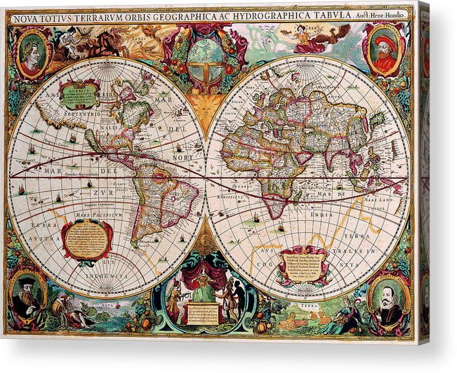Map Acrylic Print featuring the digital art Old World Map by Csongor Licskai