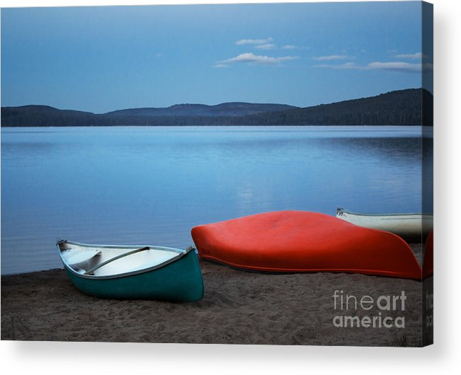 Canoe Acrylic Print featuring the photograph Paddle's End by Barbara McMahon