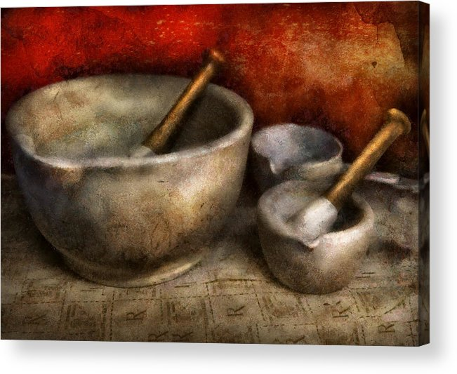 Hdr Acrylic Print featuring the photograph Pharmacist - Pestle And Son by Mike Savad