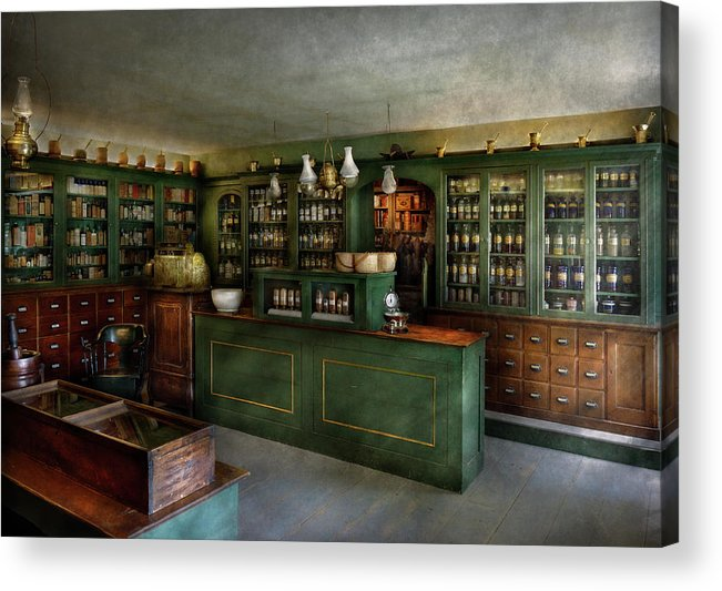 Apothecary Acrylic Print featuring the photograph Pharmacy - The Chemist Shop by Mike Savad