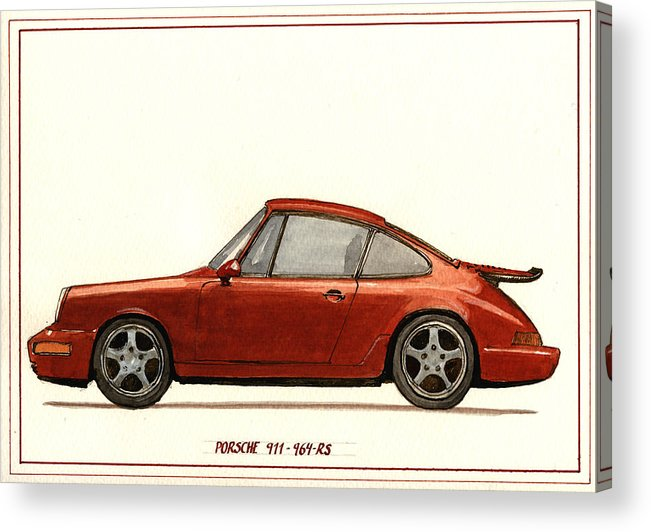 Porsche Acrylic Print featuring the painting Porsche 911 964 Rs by Juan Bosco