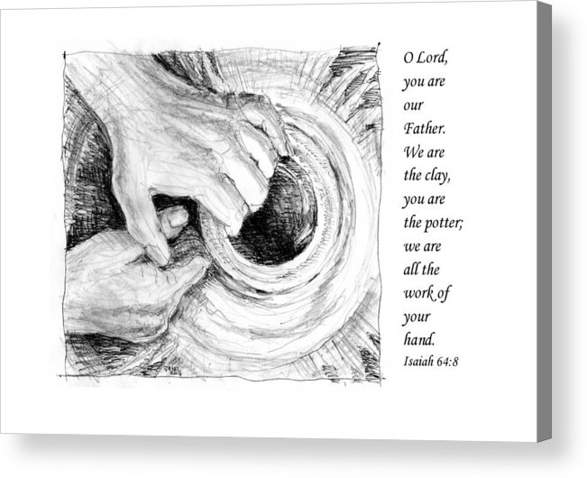 Pen And Ink Drawing Acrylic Print featuring the drawing Potter And Clay by Janet King