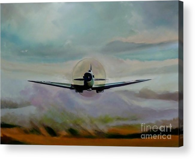Spitfire Acrylic Print featuring the painting Pr Photo Reconnaissance by Terence R Rogers
