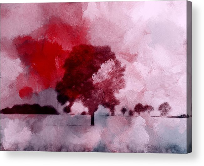 Expressionism Abstract Landscape Tree Cloud Clouds Red Sky Acrylic Print featuring the painting Red Sky by Steve K
