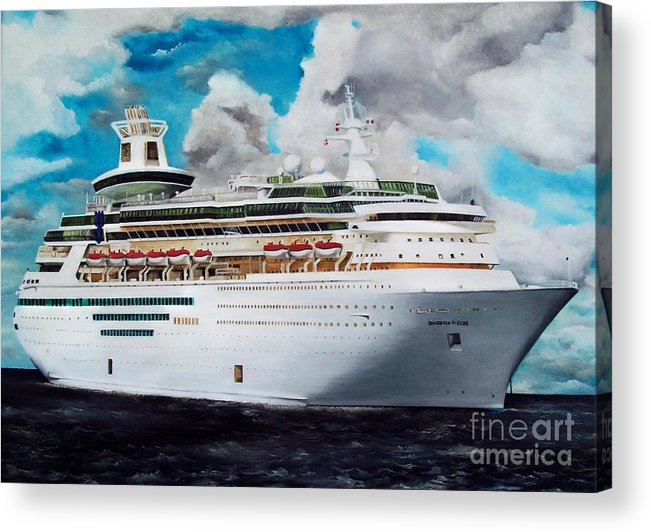 Ship Acrylic Print featuring the painting Royal Caribbean Sovereign Of The Seas by Kenneth Harris