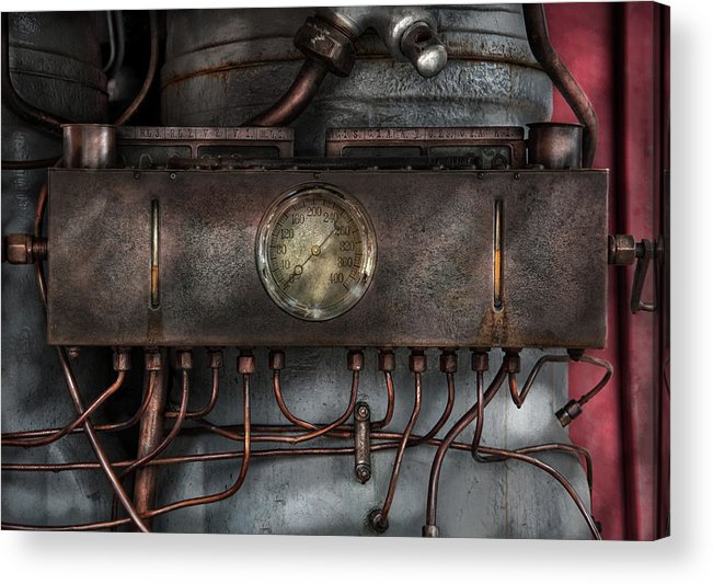 Hdr Acrylic Print featuring the photograph Steampunk - Connections  by Mike Savad