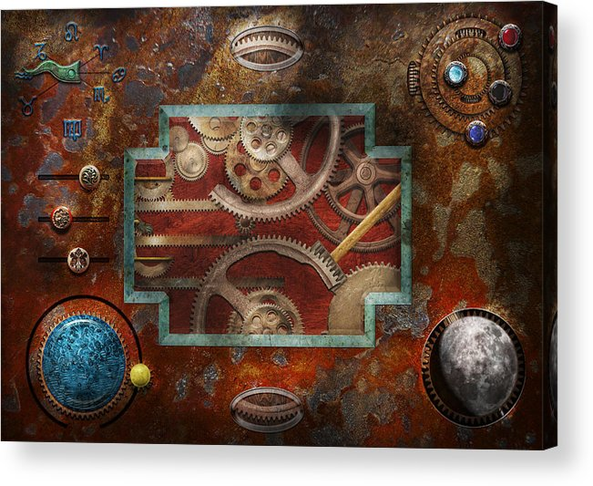 Hdr Acrylic Print featuring the photograph Steampunk - Pandora's Box by Mike Savad