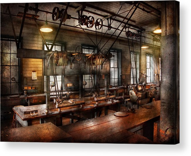 Hdr Acrylic Print featuring the photograph Steampunk - The Workshop by Mike Savad