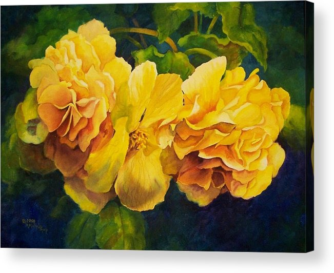 Floral Acrylic Print featuring the painting Sun Kissed Yellow Begonias by Michele Thorp