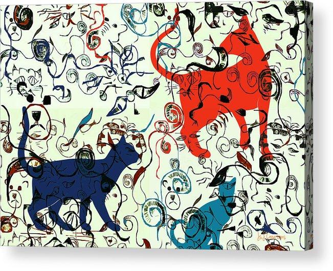 Digital Art Acrylic Print featuring the digital art Swirls And Pussycats by Jan Steadman-Jackson