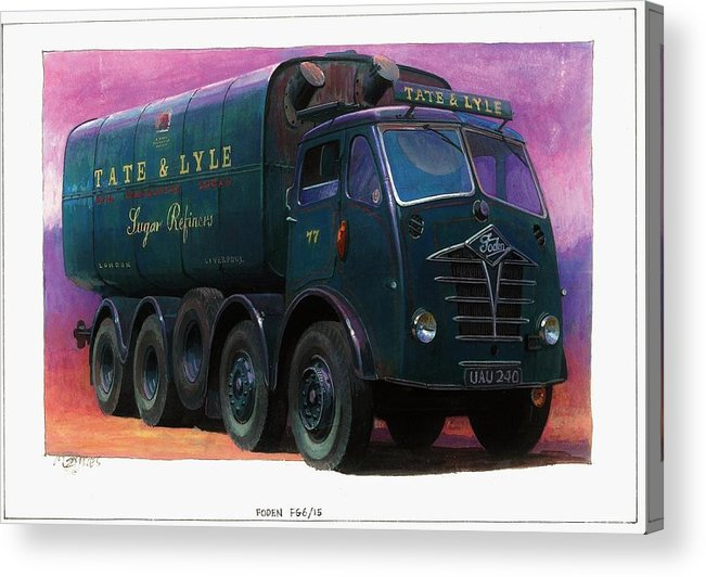 Lorry Acrylic Print featuring the painting Tate And Lyle Foden. by Mike Jeffries