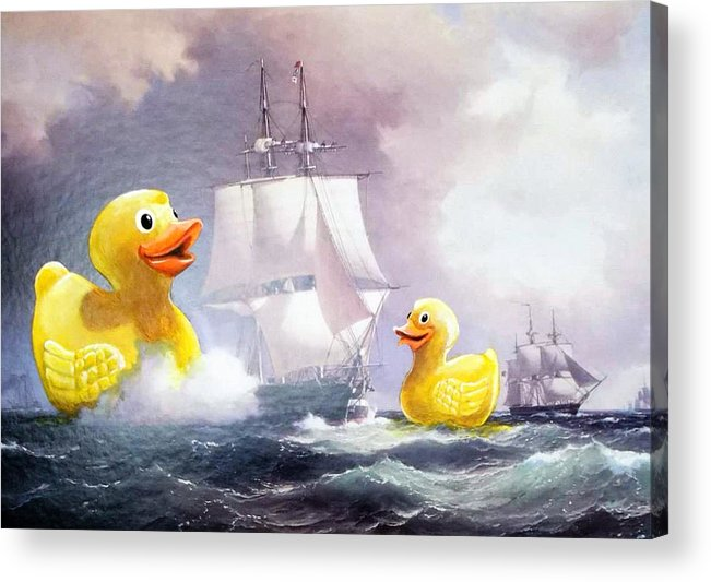Duckies Acrylic Print featuring the painting Terror On The High Seas II by David Irvine