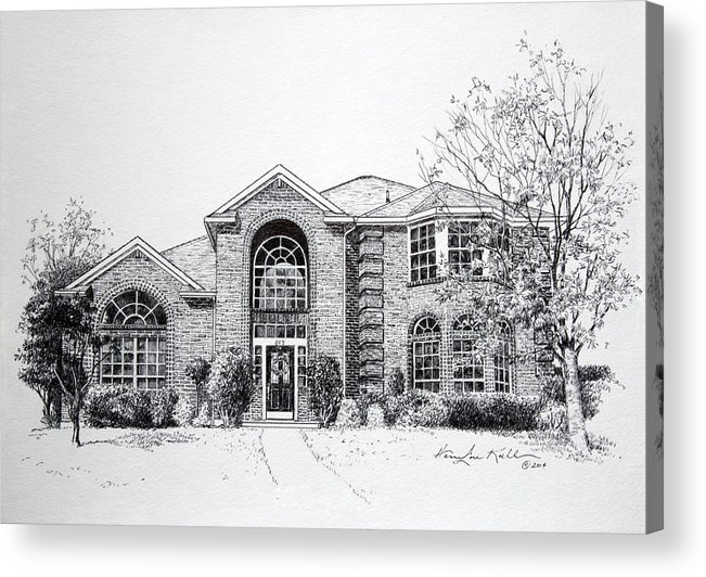 Homes Acrylic Print featuring the drawing Texas Home 2 by Hanne Lore Koehler