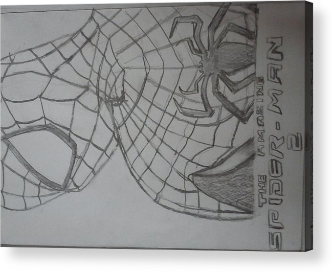 Spiderman Acrylic Print featuring the drawing the amazing Spiderman 2 by Kishore Nedumaran