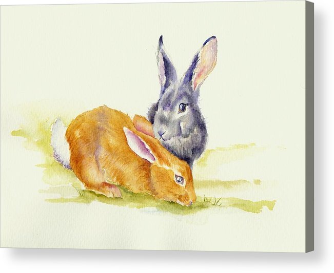 Rabbits Acrylic Print featuring the painting The Grass Is Always Greener by Debra Hall