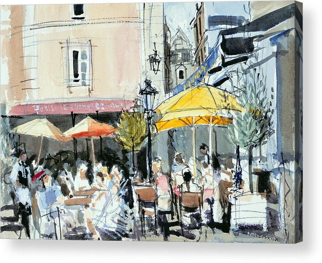 Cafe; Restaurant; French; Open Air; Dining; Eating; Al Fresco; Courtyard; Tables; Umbrellas; Brittany; Shade; Parasols; Terrace Acrylic Print featuring the painting The Square At St. Malo by Felicity House