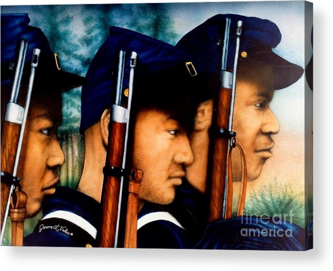 Watercolor Acrylic Print featuring the painting Three Heros by JL Vaden