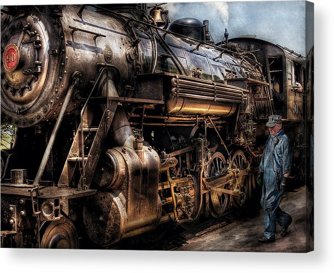 Savad Acrylic Print featuring the photograph Train - Engine - Now Boarding by Mike Savad
