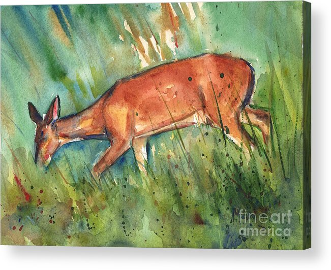 Deer Wildlife Acrylic Print featuring the painting Twilight by Maria Reichert