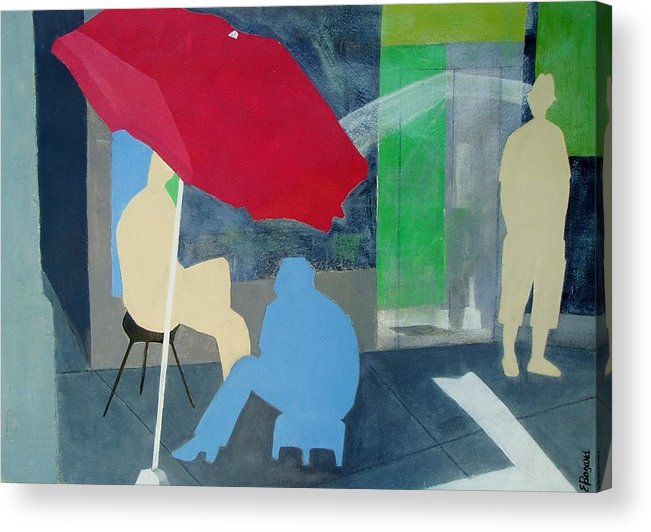 Umbrella Acrylic Print featuring the painting Under The Umbrella by Elizabeth Bogard
