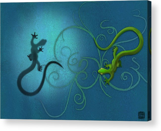 Gecko Acrylic Print featuring the digital art water colour print of twin geckos and swirls Duality by Sassan Filsoof