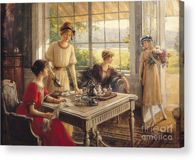 Victorian Acrylic Print featuring the painting Women Taking Tea by Albert Lynch