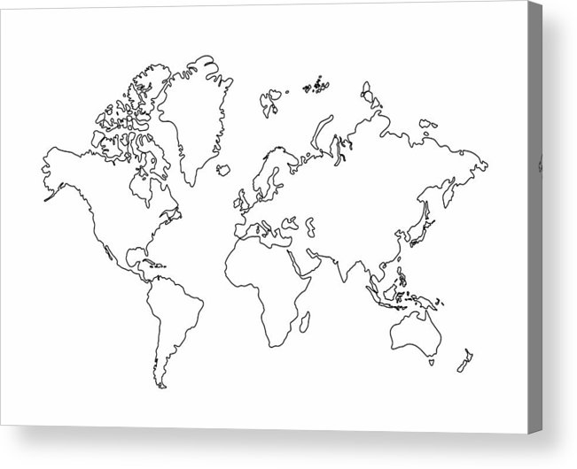Map Outline Australia.World Map Outline Graphic Freehand Drawing On White Background Vector Of Asia Europe North South America Australia And Africa Acrylic Print
