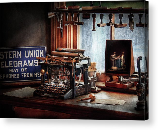 Hdr Acrylic Print featuring the photograph Writer - Typewriter - The Aspiring Writer by Mike Savad