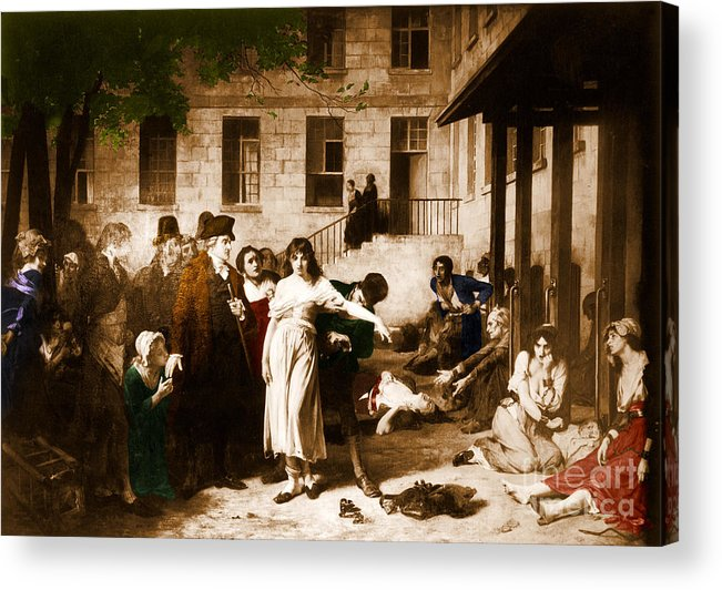Painting Acrylic Print featuring the photograph Pitie-salpetriere Hospital, 1795 by Photo Researchers