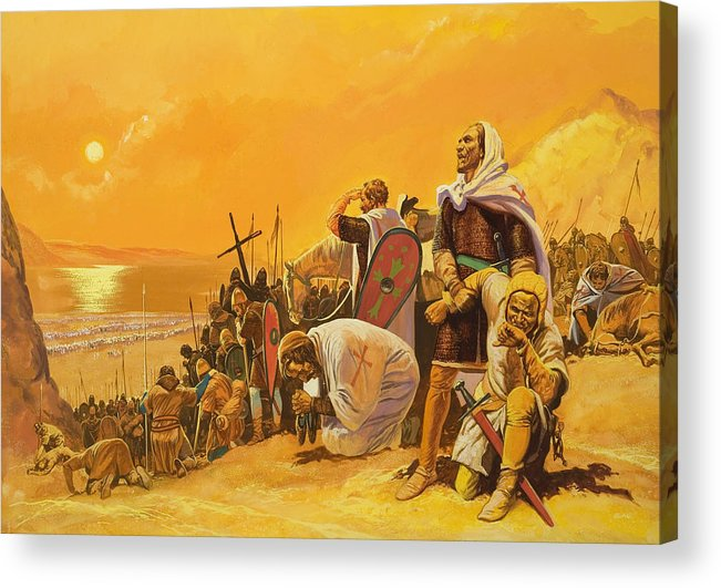 Orange; Soldier; Middle East; Heat; Sun; Cross; Christianity; Christendom; Suffering; Exhaustion; Water; Land; Desert; Shield; Armour; C11th; Croisades; Holy War; Arid; Parched; Harsh Conditions; Male; Children's Illustration Acrylic Print featuring the painting The Crusades by Gerry Embleton