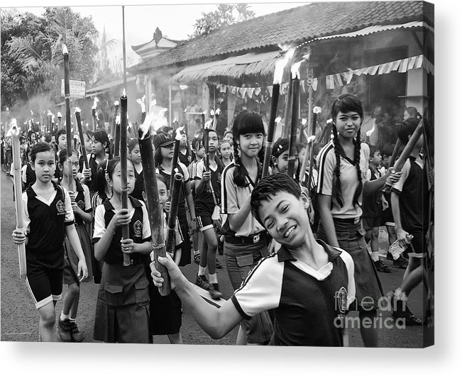 Children Acrylic Print featuring the photograph Bali Festival by Charuhas Images