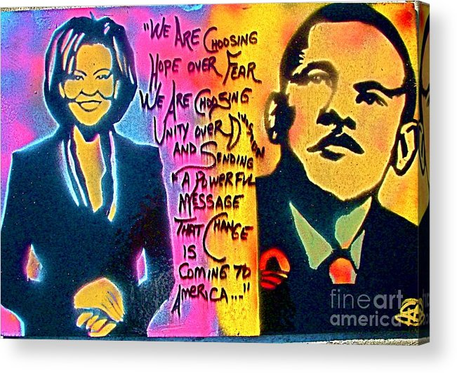 Barack Obama Acrylic Print featuring the painting Barack And Michelle by Tony B Conscious