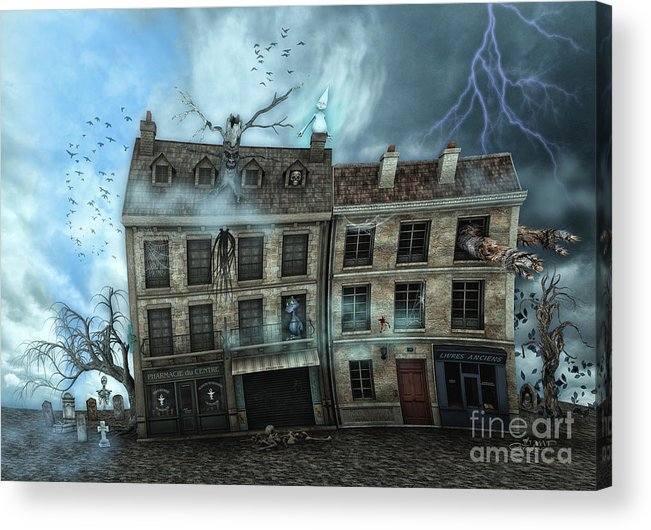 3d Acrylic Print featuring the digital art Haunted House by Jutta Maria Pusl
