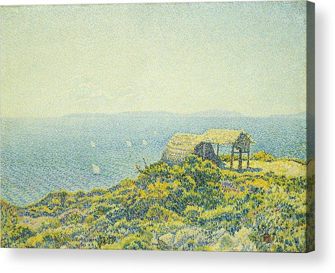 L'ile Du Levant Acrylic Print featuring the painting L'ile Du Levant Vu Du Cap Benat by Theo van Rysselberghe